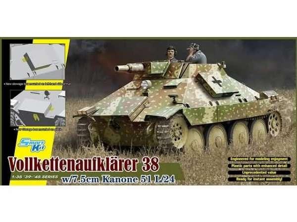 Niemieckie działo samobieżne Vollkettenaufklarer 38 w/7,5cm Kanone 51 L/24, plastikowy model do sklejania Dragon 6815 w skali 1:35 -image_Dragon_6815_1