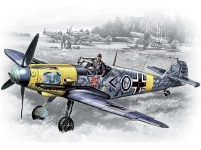 Niemiecki myśliwiec Messerschmitt Bf 109F-2, plastikowy model do sklejania ICM 48102 w skali 1:48-image_ICM_48102_1