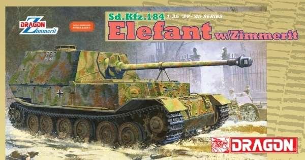Niemiecki niszczyciel czołgów Sd.Kfz.184 Elefant z zimmeritem, plastikowy model do sklejania Dragon 6465 w skali 1:35.-image_Dragon_6465_1