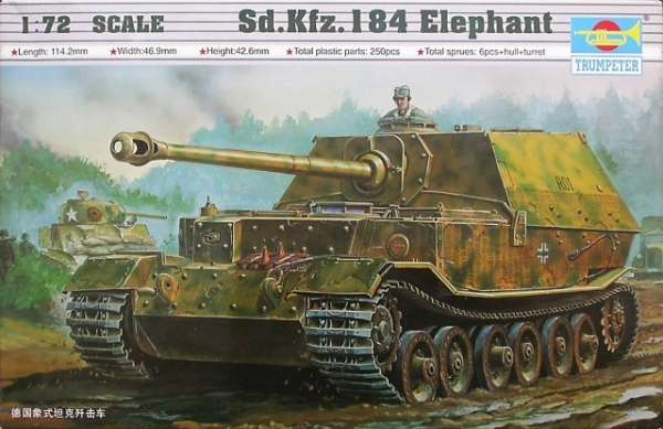 Niemiecki niszczyciel czołgów Elefant, plastikowy model do sklejania Trumpeter 07204 w skali 1:72-image_Trumpeter_07204_1