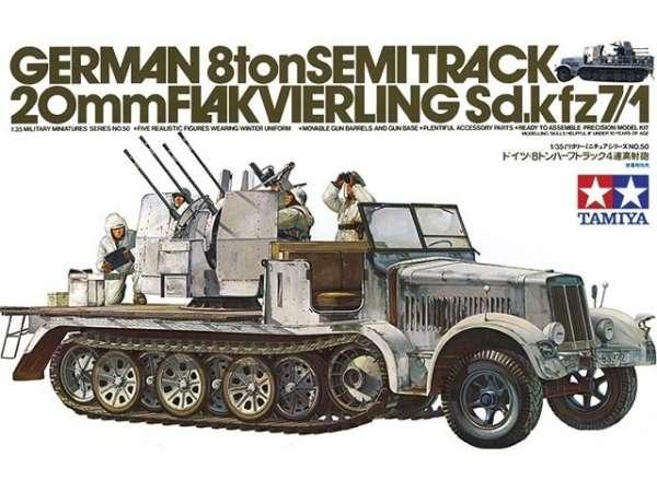 Plastikowy model do sklejania niemieckiego transportera półgąsienicowego Sdkfz 7 z działkiem plot 20mm.-image_Tamiya_35050_1