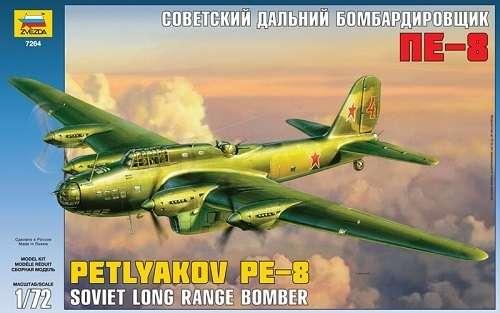 Radziecki ciężki samolot bombowy dalekiego zasięgu Petlyakov Pe-8, plastikowy model do sklejania Zvezda 7264 w skali 1:72.-image_Zvezda_7264_1