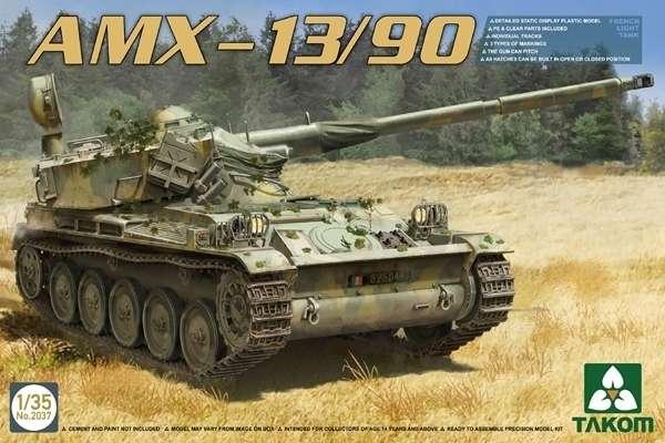 Francuski lekki czołg AMX-13/90, plastikowy model do sklejania Takom 2037 w skali 1:35.-image_Takom_2037_1