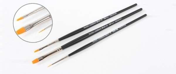 Zestaw 3 modelarskich pędzelków - ze specjalnym syntetycznym włosiem przeznaczonym do malowania modeli, Tamiya 87067-image_Tamiya_87067_1