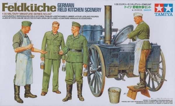 Niemiecka kuchnia polowa oraz niemieccy żołnierze, plastikowy model i figurki do sklejania Tamiya 35247 w skali 1:35.-image_Tamiya_35247_1