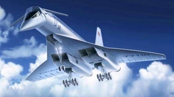 Model radzieckiego naddźwiękowego samolotu pasażerskiego Tupolev Tu-144, plastikowy model ICM 14401 w skali 1/144.-image_ICM_14401_1