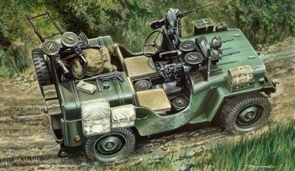 Model amerykańskiego wojskowego pojazdu komandosów Willys MB-Jeep, plastikowy model do sklejania Italeri 320 w skali 1/35.-image_Italeri_0320_1