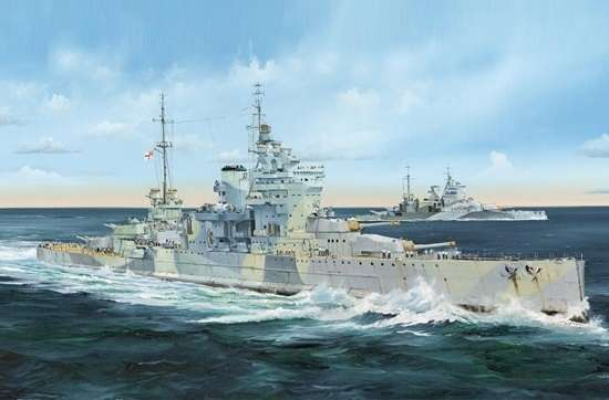 Brytyjski pancernik HMS Queen Elizabeth 1943, plastikowy model do sklejania Trumpeter 05324 w skali 1:350.-image_Trumpeter_05324_1