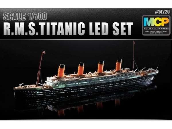 Plastikowy model do sklejania najsłynniejszego transatlantyka R.M.S Titanic w skali 1:700 wraz z zestawem oświetlenia Led. Academy 14220.-image_Academy_14220_1