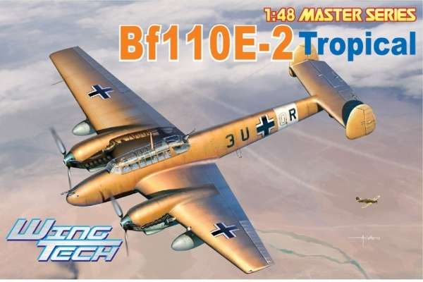Niemiecki dwusilnikowy myśliwiec Messerschmitt Bf 110E-2 Tropical, plastikowy model do sklejania Dragon 5560 w skali 1:48.-image_Dragon_5560_1