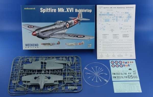 Zawartość pudełka modelu myśliwca Spitfire Mk.XVI Bubbletop - Eduard 84141-image_Eduard_84141_3