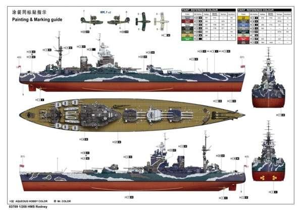 Brytyjski okręt wojenny - pancernik HMS Rodney w skali 1:200 plastikowy model do sklejania Trumpeter_03709_image_19-image_Trumpeter_03709_6