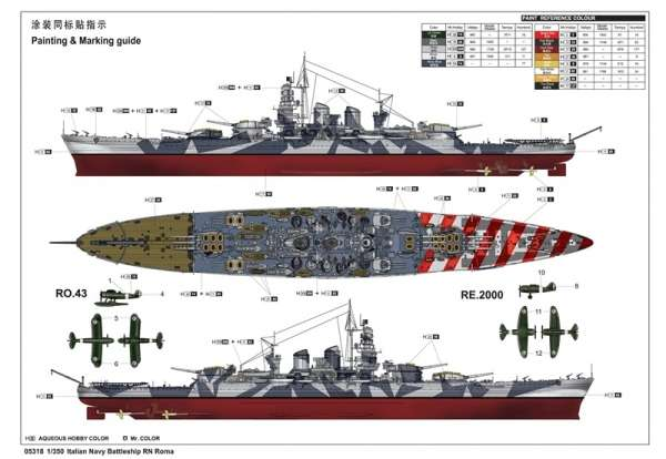 Model włoskiego pancernika RN Roma w skali 1:350 do sklejania, model Trumpeter 05318_image_2-image_Trumpeter_05318_3