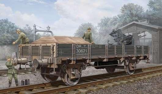 Niemiecki wagon platforma z niskimi burtami, plastikowy model do sklejania Trumpeter 01518 w skali 1:35.-image_Trumpeter_01518_1