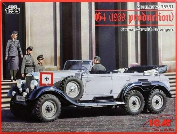 Niemiecka 6 kołowa limuzyna Mercedes-Benz G4, plastikowy model do sklejania ICM 35531 w skali 1:35-image_ICM_35531_1