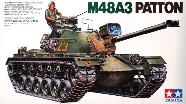 Amerykański czołg M48A3 Patton, plastikowy model do sklejania Tamiya 35120 w skali 1:35-image_Tamiya_35120_1