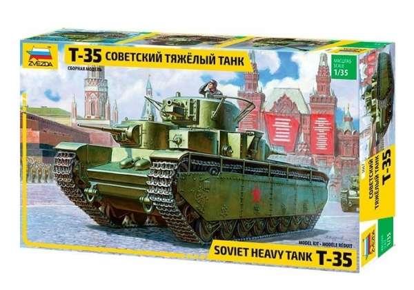 Model radzieckiego ciężkiego czołgu T-35 z okresu WWII, model Zvezda 3667 w skali 1/35. -image_Zvezda_3667_1