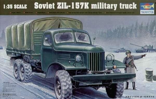 Plastikowy model radzieckiej ciężarówki wojskowej ZIŁ-157K do sklejania, model Trumpetera w skali 1/35.-image_Trumpeter_01003_1