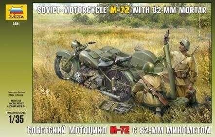 Radziecki wojskowy motocykl M-72 z koszem oraz moździerzem 82 mm i z żołnierzami, plastikowy model i figurki do sklejania Zvezda 3651 w skali 1:35-image_Zvezda_3651_1