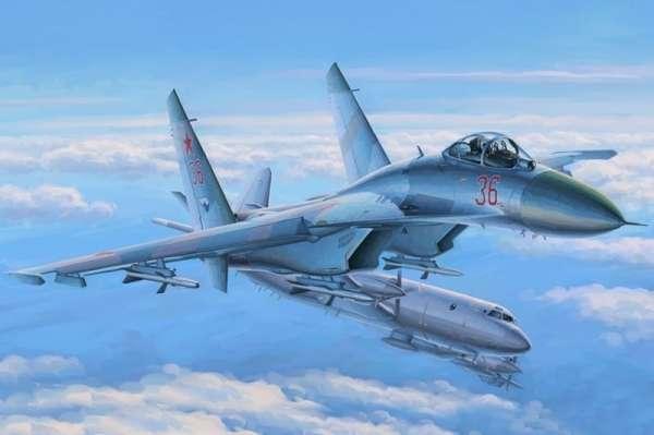 Radziecki/rosyjski jednomiejscowy współczesny myśliwiec przechwytujący Su-27 - kod NATO - Flanker , plastikowy model do sklejania Hobby Boss 81712 w skali 1:48-image_Hobby Boss_81712_1