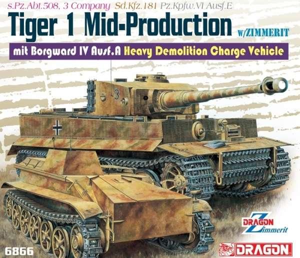 Niemiecki ciężki czołg Pz.Kpfw. VI Ausf. E Tiger I z Zimmeritem oraz pojazd Borgward IV Ausf. A., plastikowe modele do sklejania Dragon 6866 w skali 1:35-image_Dragon_6866_1