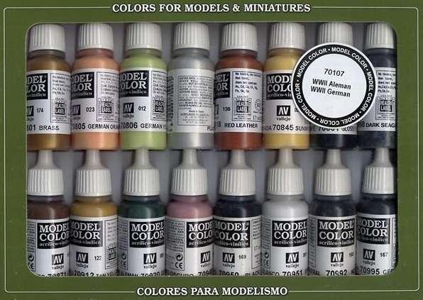Model Color Set - WWII German, zestaw 16 modelarskich farb Vallejo 70107.-image_Vallejo_70107_1