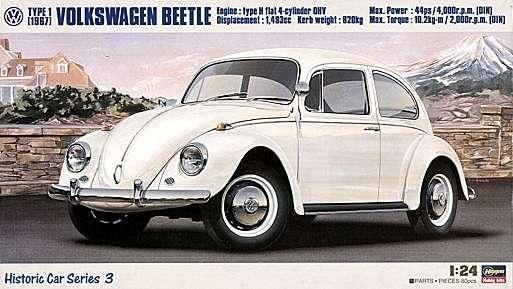 Niemiecki samochód osobowy Volkswagen Beetle Typ 1 (1967), plastikowy model do sklejania Hasegawa 21203 w skali 1:24-image_Hasegawa Hobby Kits_21203_1