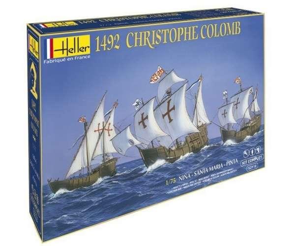 Zestaw modelarski zawierający 3 statki biorące udział w pierwszej wyprawie Krzysztofa Kolumba w 1492 r.: Nina, Santa Maria oraz Pinta w skali 1:75-image_Heller_52910_1