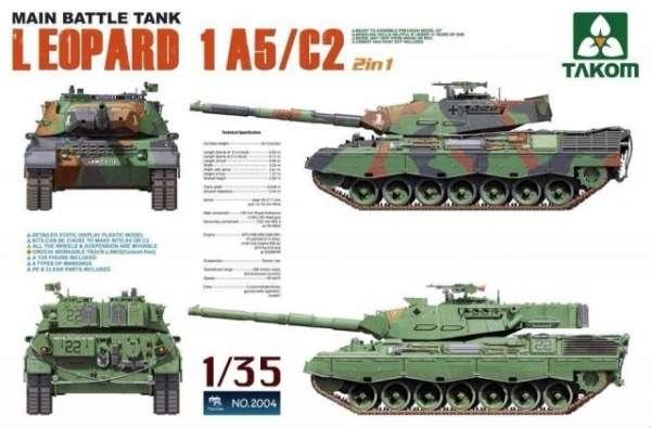 Czołg podstawowy Leopard 1A5/C2, plastikowy model do sklejania Takom 2004 w skali 1:35-image_Takom_2004_1
