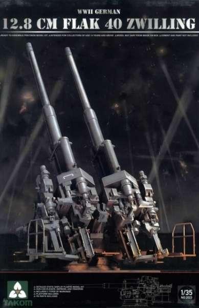 Niemieckie podwójne działo przeciwlotnicze kalibru 128 mm FlaK 40, plastikowy model do sklejania Takom 2023 w skali 1:35.-image_Takom_2023_1