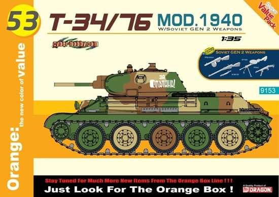 Radziecki czołgu T-34/76 (mod. 1940), plastikowy model do sklejania Dragon 9153 w skali 1:35-image_Dragon_9153_1