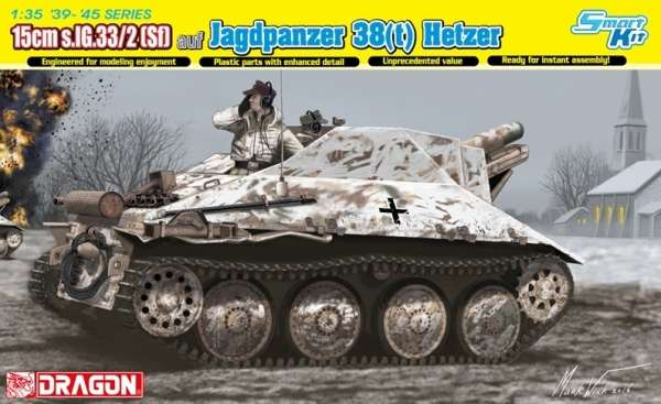 Niemieckie samobieżne działo na podwoziu niszczyciela czołgów Jagdpanzer 38(t) Hetzer z armatą 15cm s.IG.33, plastikowy model do sklejania Dragon 6489 w skali 1:35-image_Dragon_6489_1
