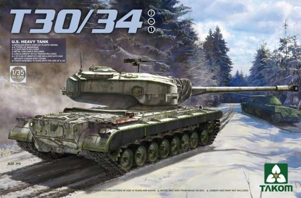 Amerykański ciężki czołg T30/34, plastikowy model do sklejania Takom 2065 w skali 1:35-image_Takom_2065_1