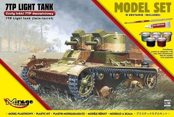 Zesatw modelarski do sklejania polski lekki dwuwieżowy czołg 7TP -image_Mirage Hobby_835094_1