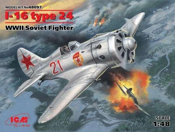 Radziecki jednomiejscowy myśliwiec Polikarpow I-16 type 24 , plastikowy model do sklejania ICM 48097 w skali 1:48-image_ICM_48097_1