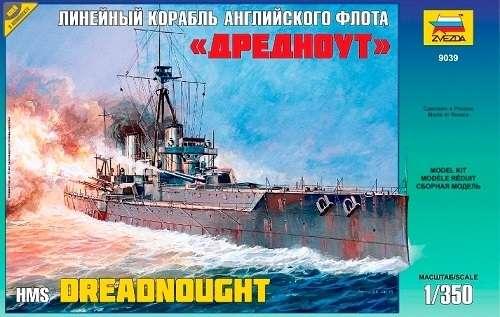 Brytyjski pancernik HMS Dreadnought, plastikowy model do sklejania Zvezda 9039 w skali 1:350-image_Zvezda_9039_1