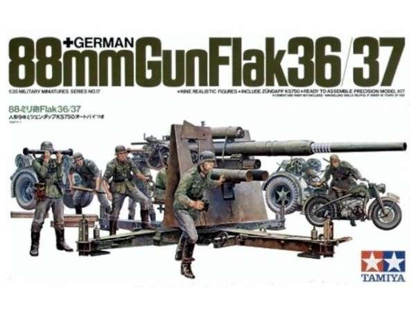 Niemieckie działo 88mm FlaK 36/37, plastikowy model do sklejania Tamiya 35017 w skali 1:35-image_Tamiya_35017_1