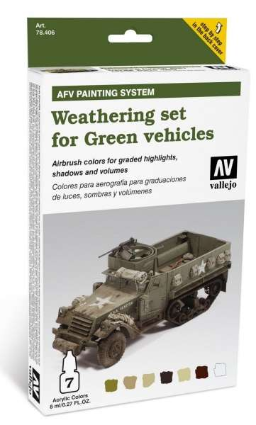 Zestaw do weatheringu - zielone pojazdy, Vallejo 78406.-image_Vallejo_78406_1